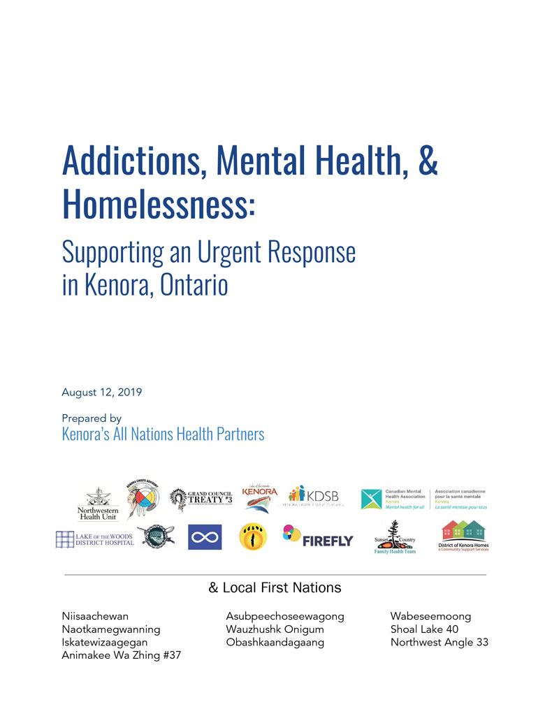 Cover page for Addictions, Mental Health, & Homelessness Report from August 12, 2019