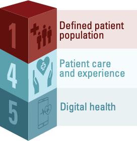 Block #1 represents defined patient population; Block #4 represents Patient care and experience; Block #5 represents digital health